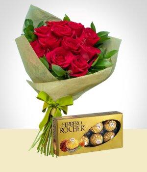 Combo Tradición Bouquet De Rosas Y Chocolates Latacunga