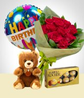 - Bouquet + Peluche + Chocolates + Globo